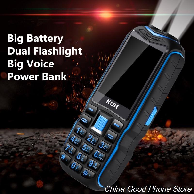 KUH T3 بطارية كبيرة وعرة المسنين الهاتف المحمول للصدمات الهاتف المحمول بصوت عال المتكلم خط كبير المزدوج سيم الاهتزاز مزدوجة flash ligt