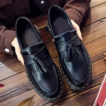 ADRIAN tassel loafers women leather low-top Martin shoes women British style fashion student round-t