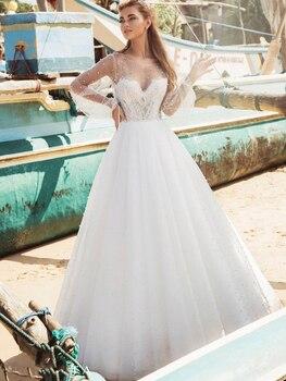 Illusion Sweetheart Pearls Beaded Wedding Dress Spaghetti Straps Custom Made 2021 Long Transparent Sleeveless Princess Ball Gown