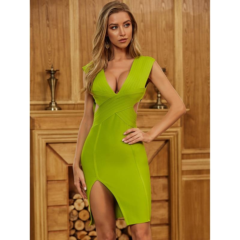 أحدث السيدات Bodycon ضمادة فستان 2020 مثير الخامس الرقبة عارية الذراعين الأخضر المرأة فستان صيفي موضة مساء فستان حفلة Vestido