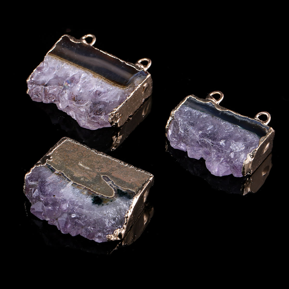 Irregular Shape Purple Quartzs Pendant Necklace Reiki Healing Natural Stone Amulet DIY Jewelry Personality Gift Size 35x30mm