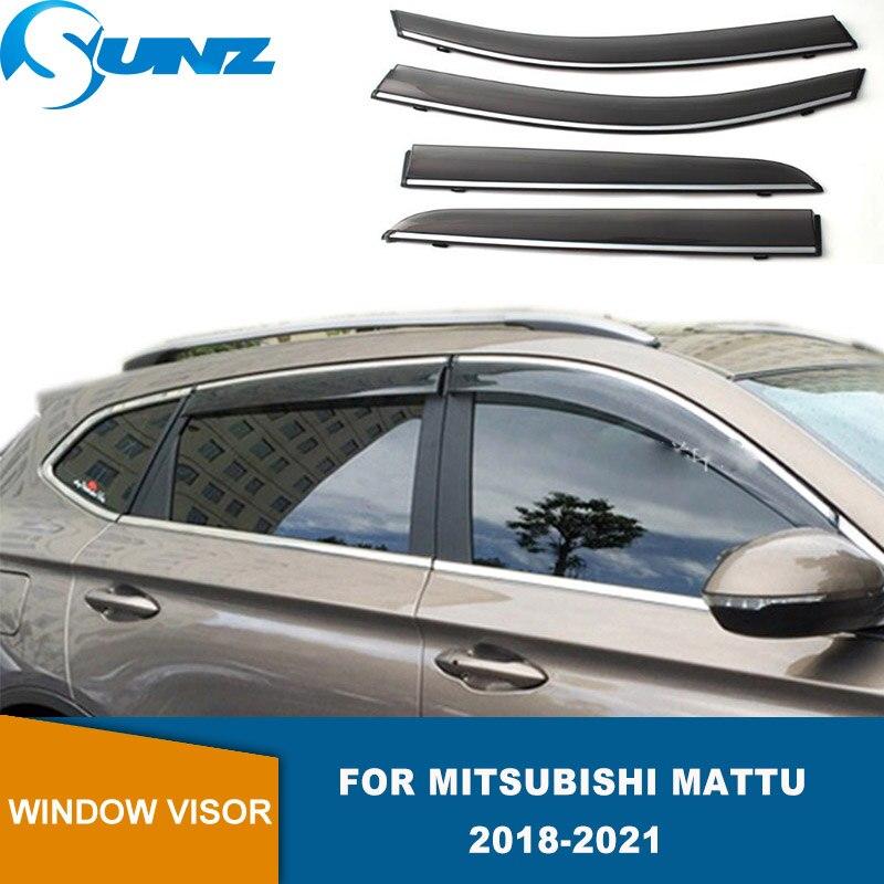 Side Window Visors For Mitsubishi Mattu 2018 2019 2020 2021 High Transparency Hook Weathershields Sun Rain Deflectors SUNZ