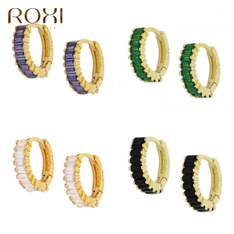 ROXI élégant Zircon cristaux boucles doreilles pour femmes violet blanc noir vert boucles doreilles Cartilage 925 bijoux en argent Sterling