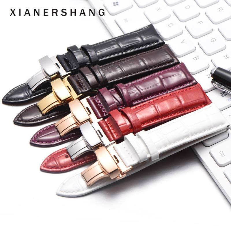 Nova pulseira feminina 12mm-22mm brilhante crocodilo padrão pulseiras de relógio 20mm borboleta aço fivela pulseira couro genuíno