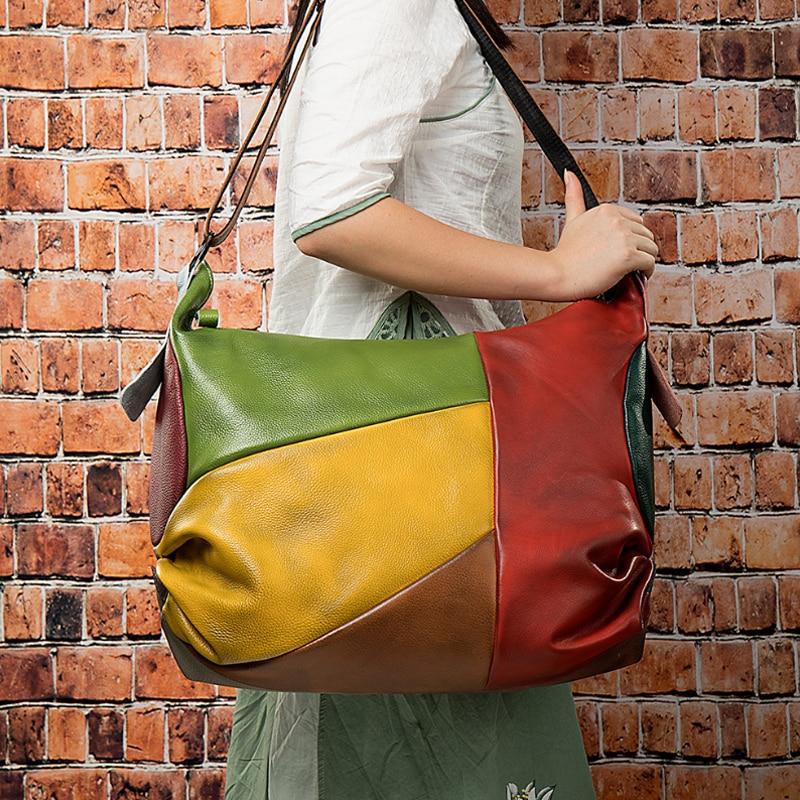 ارتفاع موضة جلد امرأة حقيبة كتفية للسفر بوهيميا نمط حقائب كروسبودي حقيبة ساعي للسفر سعة كبيرة