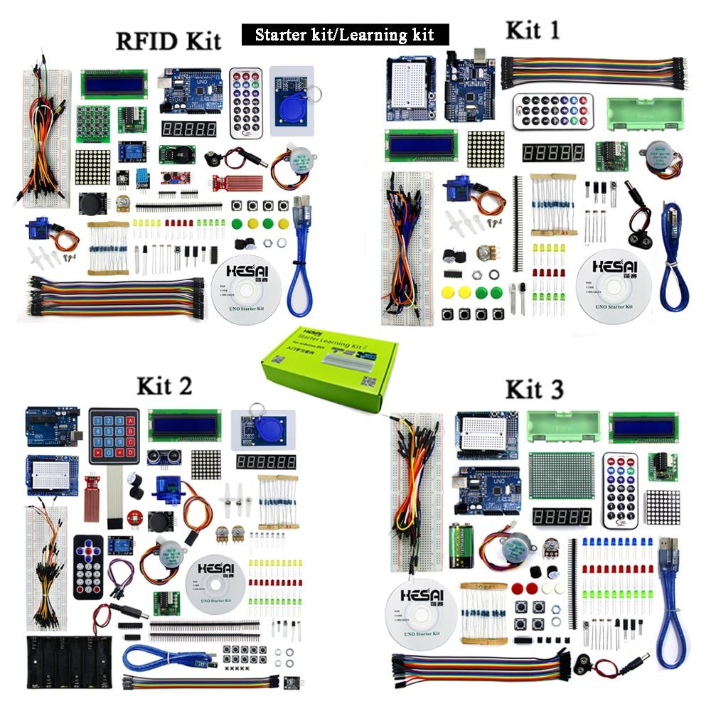 طقم المبتدئين/طقم التعلم (UNO R3) طقم بدء تشغيل وتتفاعل مع موجات الراديو UNO مجموعة التعلم الأساسية للمبتدئين نسخة مطورة