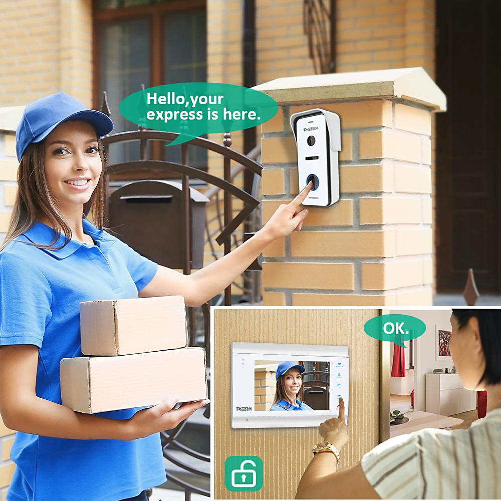 7 Inch HD1080PVideo Door Phone Intercom System with High Definition Wired Doorbell Camera,Support monitor Unlock enlarge
