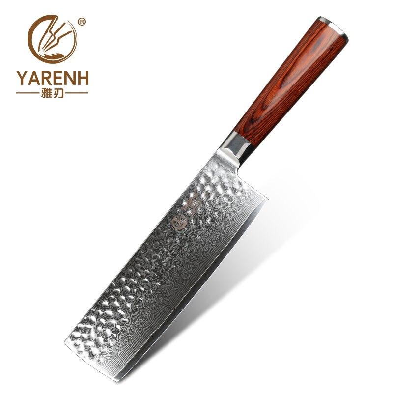 YARENH Damascus Nakiri Vegetable Knife Professional Slicing Knives Best Chef Knife High Carbon Steel Sharp Kitchen Cooking Tools