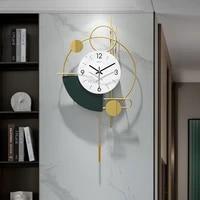 large silent wall clock modern design metal nordic art luxury simple wall clock living room reloj de pared home decoration dg50w