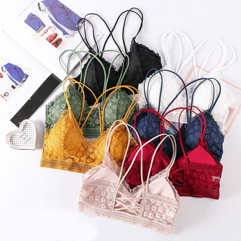 Conjuntos de sujetador con encaje Floral para mujer, ropa interior sin costuras, chaleco sin espalda, bragas sexis, Bralette con relleno, lencería, bragas ultrafinas para mujer