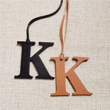 DIY Alphabet A-Z K Luxury Genuine Leather Initial Capital English Letter Keychain Backpack Pendant L