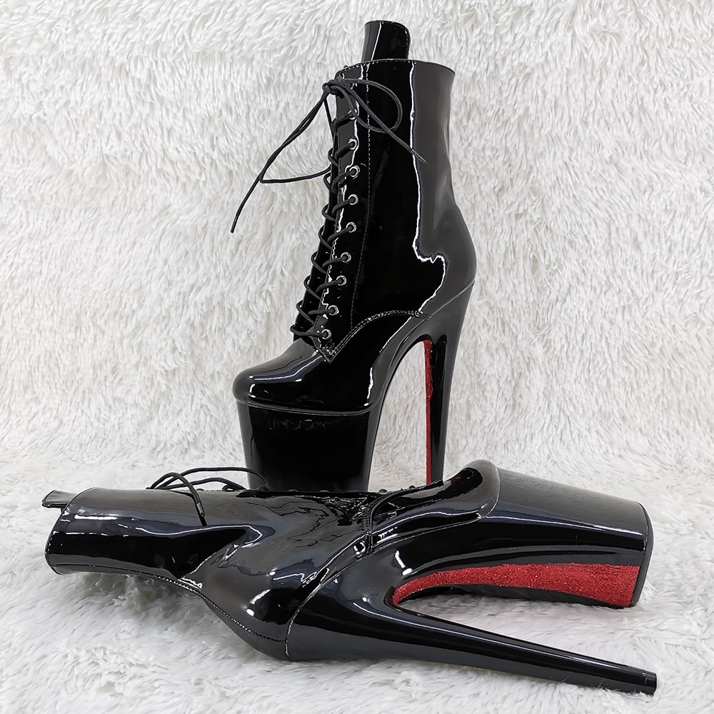 Leecabe 20CM/8Inch black with red outsole   ankle boots  High Heels Pole Dance boot