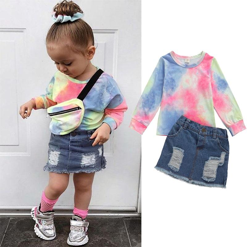 2020 Summer Fashion Infant Kids Girls Clothes Sets Tie dye printing Long Sleeve T-shirt Tops+Denim Skirts 2pcs Sets