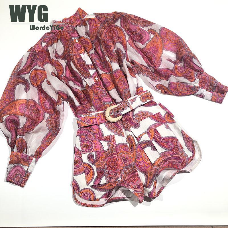 Gran oferta conjunto de blusa y pantalones cortos Vintage primavera 2020 nuevos botones de alta calidad a través de manga de linterna Tops sueltos pantalones cortos de lino