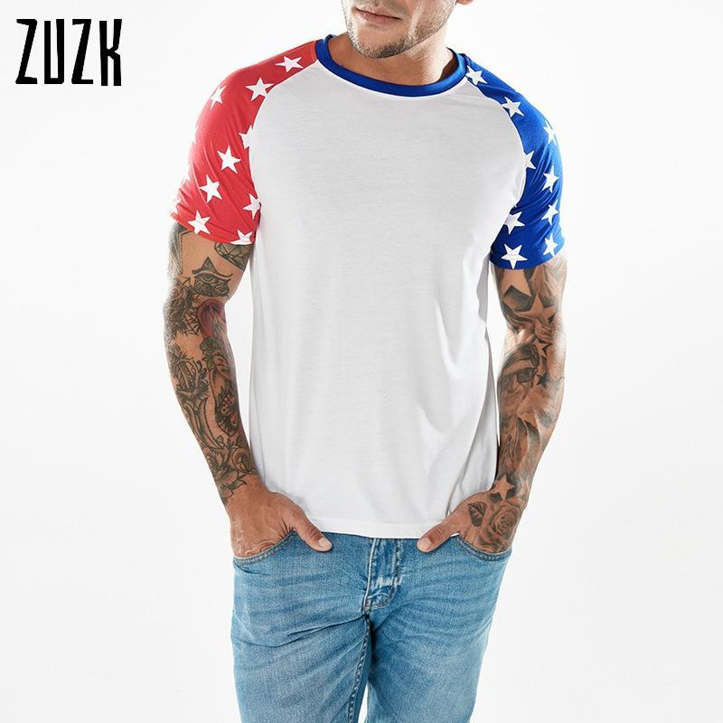 S-2XL, Raglan Sleeve Casual Men Tee Shirt, Splicing Five pointed Star Printing Men's Short Sleeve White T-shirt