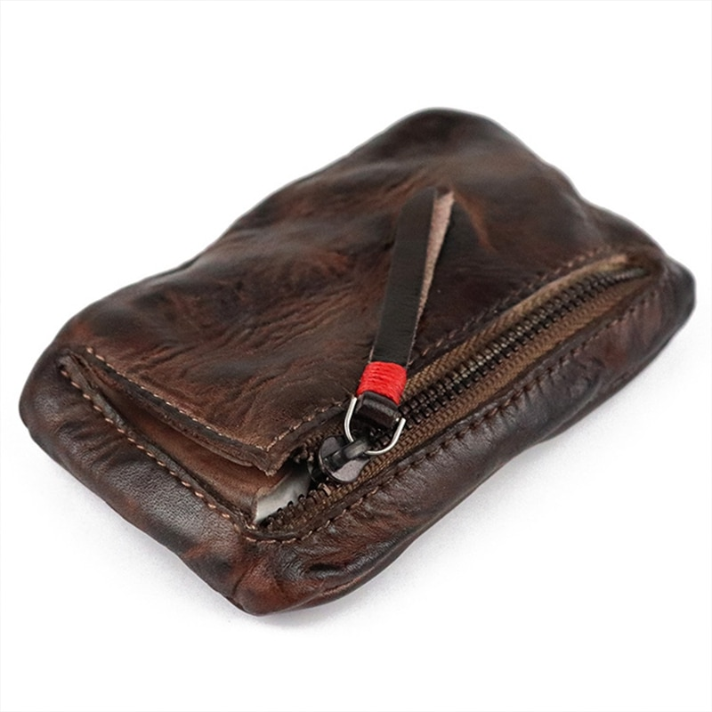 Genuíno dos Homens do Vintage Titular da Caixa Carteira de Embreagem Couro Mini Moeda Bolsa Cartão Masculino Curto Zíper Pequena Mudança