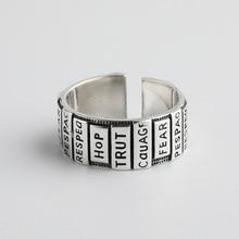 Korean S925 Silver Ring Girls Thai black Retro Silver Finger Ring Fashion Opening English letter handmade women ring