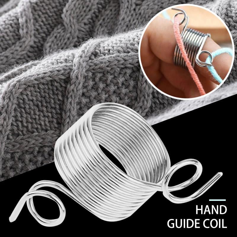 Наперсток из нержавеющей стали для защиты пальцев, пружины для домашней шерсти, гибкая наперсток для вязания крючком, прочная пряжа для шит...