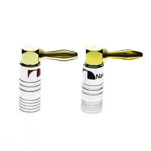 Комплект из 2 предметов, 4 мм Nakamichi контрольные выводы вилки типа «банан правый адаптер для углового громкоговорителя переходник для вилки типа «банан» разъем провода 24-каратное Золотое напыление для