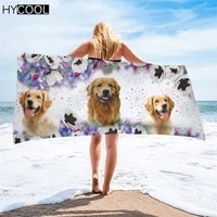 microfiber soft beach towel golden retriever dog pattern printing travel accessories sport camping towels face body bath towel