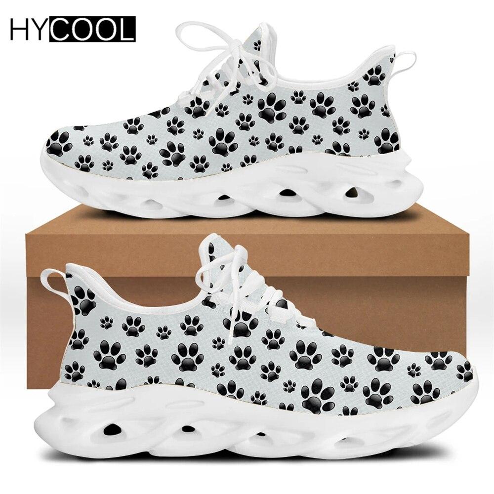 Модные кроссовки HYCOOL унисекс с принтом лапы, женские сетчатые кроссовки для бега, пара мужских спортивных тренировочных кроссовок