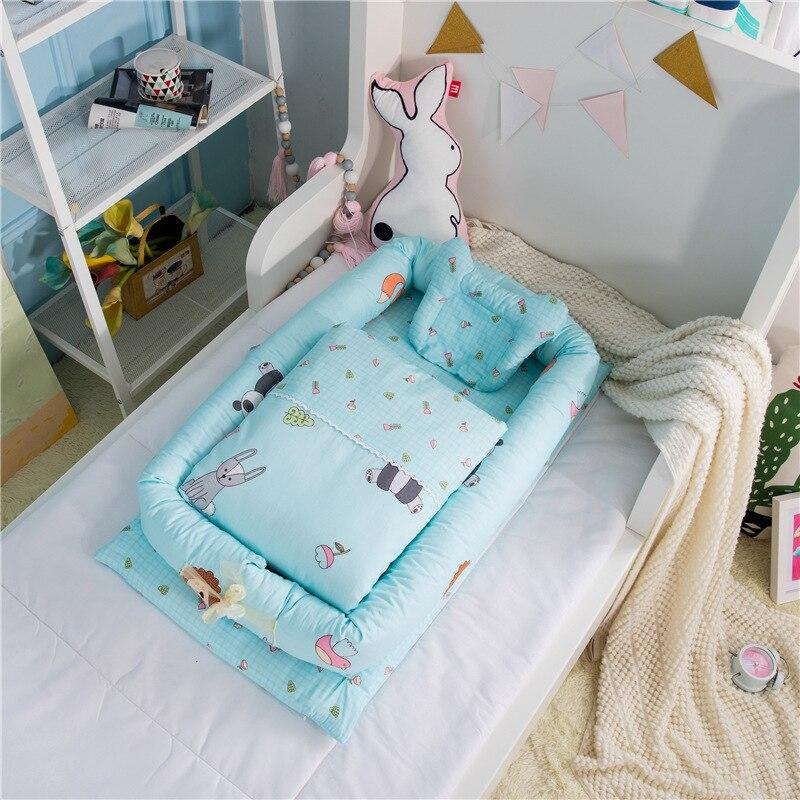 pigeon newborn pure travel set 3Pcs Set Crib Bedding Set Baby Nest Bed Portable Crib With Pillow And Quilt Travel Bed Newborn Bassinet Pad Cotton Newborn Bed