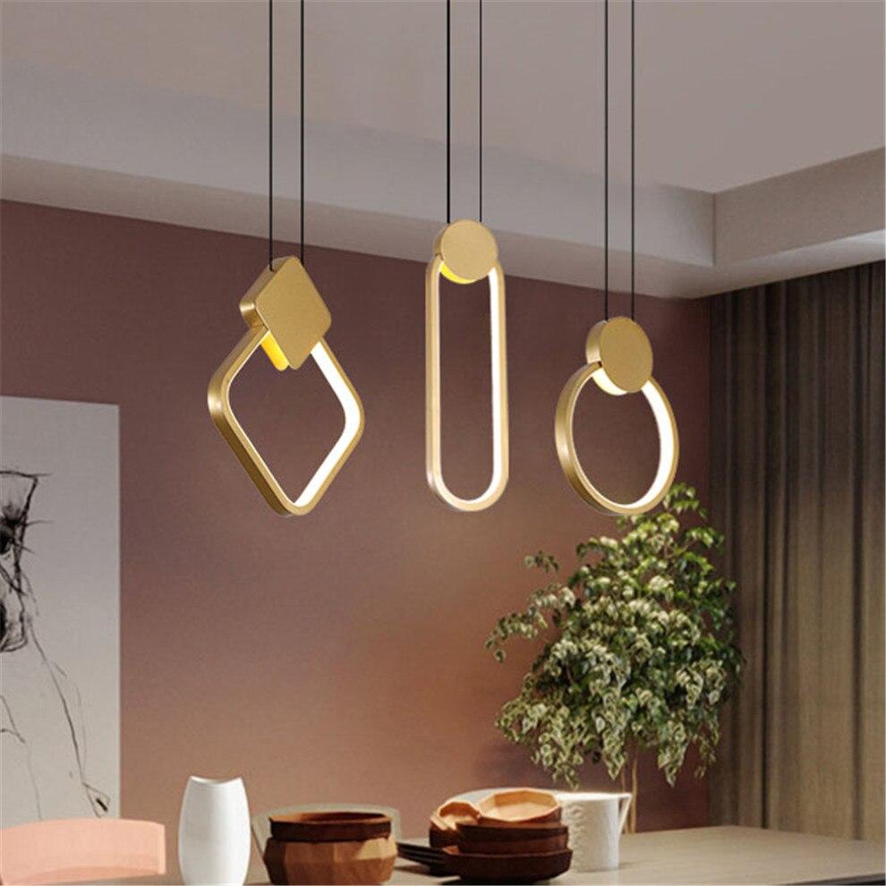 2020 nuevo anillo cuadrado nórdico geometría de metal led luz colgante para cocina comedor decoración moderna para habitación lámpara colgante de oro