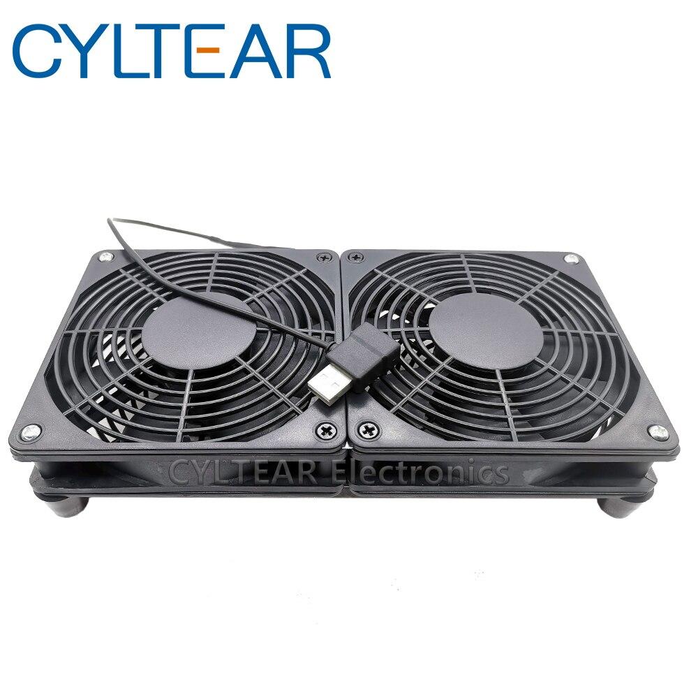 Ventilador de enfriamiento del enrutador usb, ventilador de PC DIY, caja de TV inalámbrica silenciosa DC 5V, ventilador USB de 120mm, 120x25mm, 12CM con tornillos de red protectora