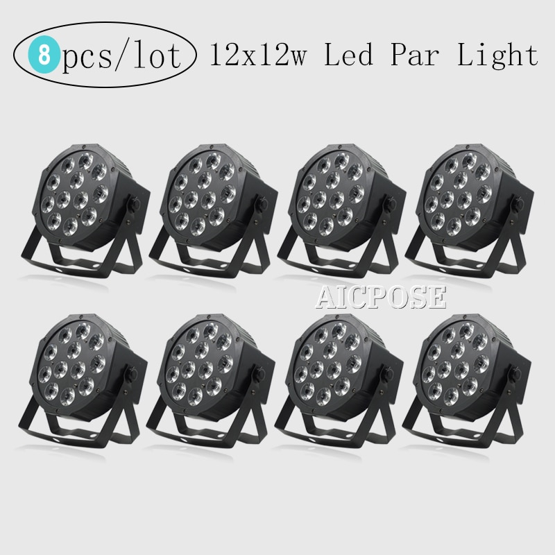8Pcs/Lots Remote Control 12x12w RGBWA UV 6in1 Led Lamp Beads Led Par Lights RGBW 4in1 DMX512 Disco Professional Stage Lighting