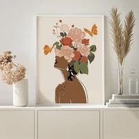 black skin boho woman flower head canvas poster nordic wall art poster prints canvas painting abstract posters living room decor