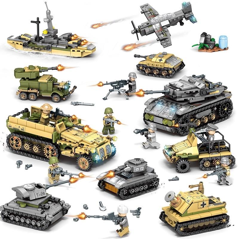 ¡Novedad de 1061 Uds! Helicóptero militar serie ww2 figuras arma soldados tanque de bloques de construcción juguetes educativos para niños Gif