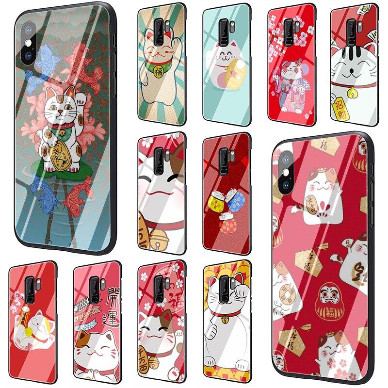 Funda para teléfono de vidrio templado lindo gato de la suerte para Samsung Galaxy S7 edge S8 Note 8 9 10 Plus A10 20 30 40 50 60 70