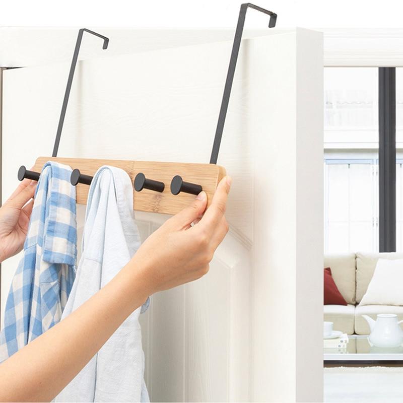 Nordic atrás da porta gancho perfurador-livre cabide rack de roupas de bambu criativo sala de estar cozinha cabide móveis para casa