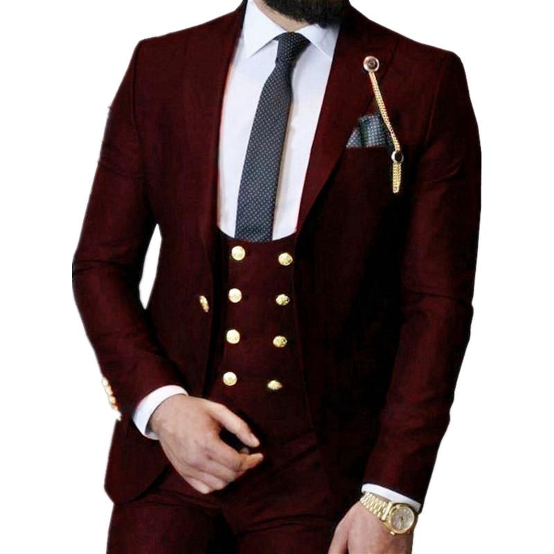 Handsome One Button Groomsmen Peak Lapel Groom Tuxedos  Men Suits Wedding/Prom/Dinner Best Blazer(Jacket+Pants+Vest+Tie) 395