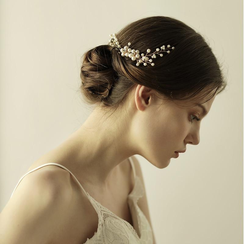 O830 Simple beads metal bridal hair comb plastic pearl wedding fashion goody hair comb bridal hair accessories недорого