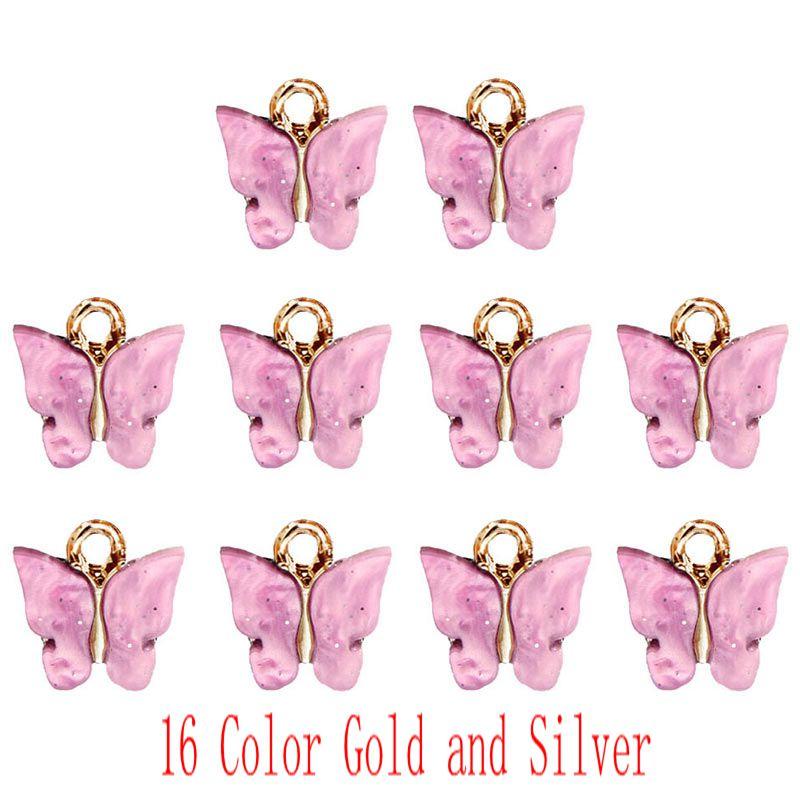 Flatfoosie-ensemble de 10 pièces, papillon brillant, accessoires bijoux à bricoler soi-même, pour fabrication de boucles doreilles en acrylique, matériel pendentif, 10 pièces/ensemble, 16 couleurs