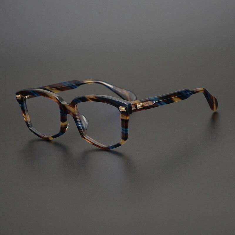 اليدوية خمر ساحة نظارات بمادة الخلات إطار الرجال النساء الرجعية كامل حافة وصفة طبية البصرية النظارات غير النظامية القراءة