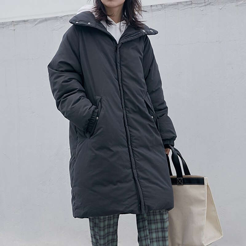 Winter Korean Women Parkas Coats Casual Long Sleeve Jackets 2020 Autumn New Warm Solid Zipper Plus Size Long Outerwear