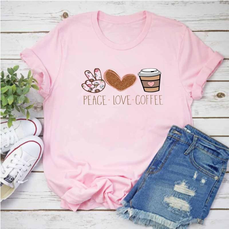 Los Mayos Camiseta rosa con estampado de café de leopardo para mujer...