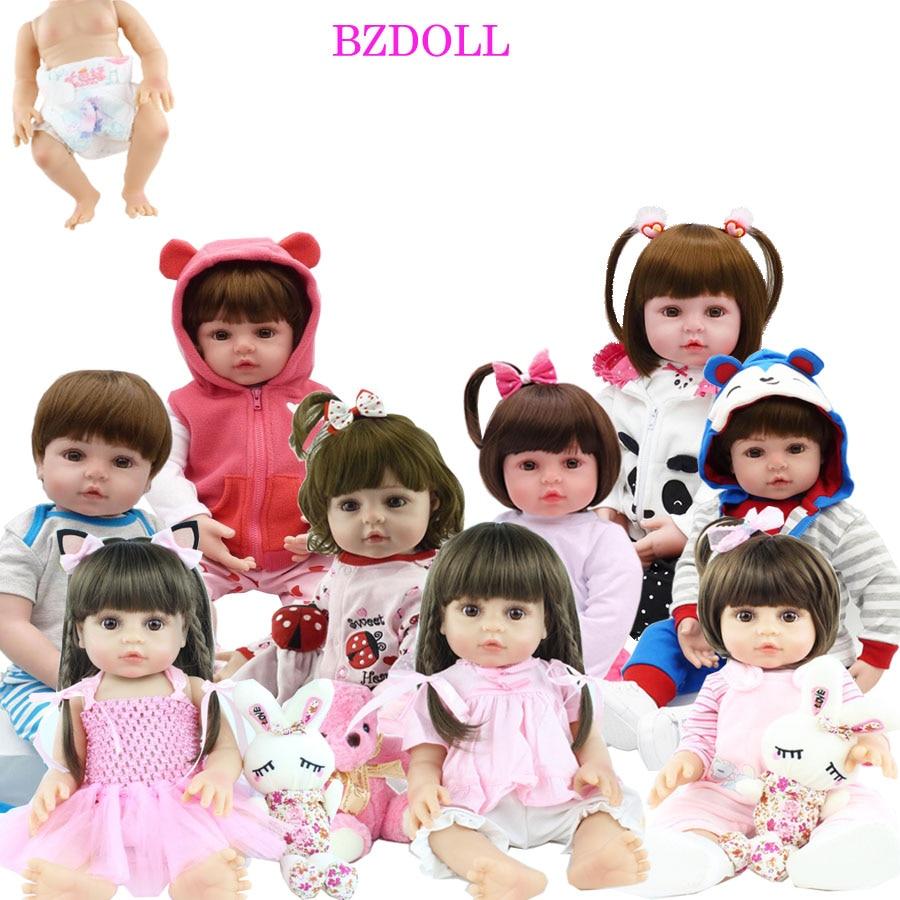 Lifelike 48 CM Full Silicone Soft Body Girl Boy Reborn Baby Doll Toy Like Alive 19 Inch Princess Birthday Gift Fashion Present