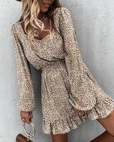 2020 women fashion elegant casual autumn square neck long sleeve loose floral print bloomer sleeve ruffles skinny waist dresses