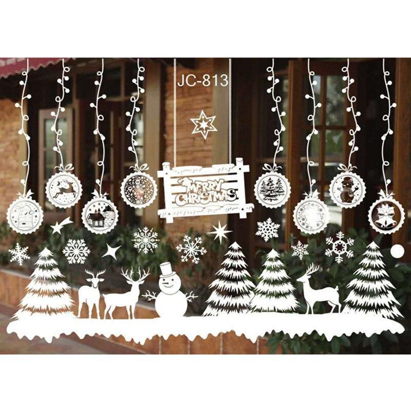 Новогоднее стекло ПВХ Наклейка на стену Рождество Сделай Сам Снежный городок наклейки на стену Наклейка на дом Рождественское украшение для дома товары для дома
