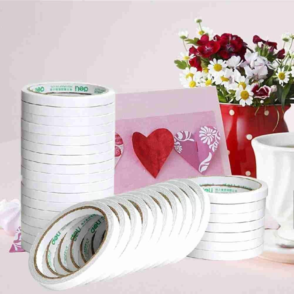 10m Double Sided Tape White Super Strong Double Sided Tape Craft Diy Adhesive Thin Strong Paper Ultra Gift-wrap 12mm N7b4 double sided cotton paper tape 12mm 9 1m white hot melt cotton paper tape home double sided adhesive school office stationery