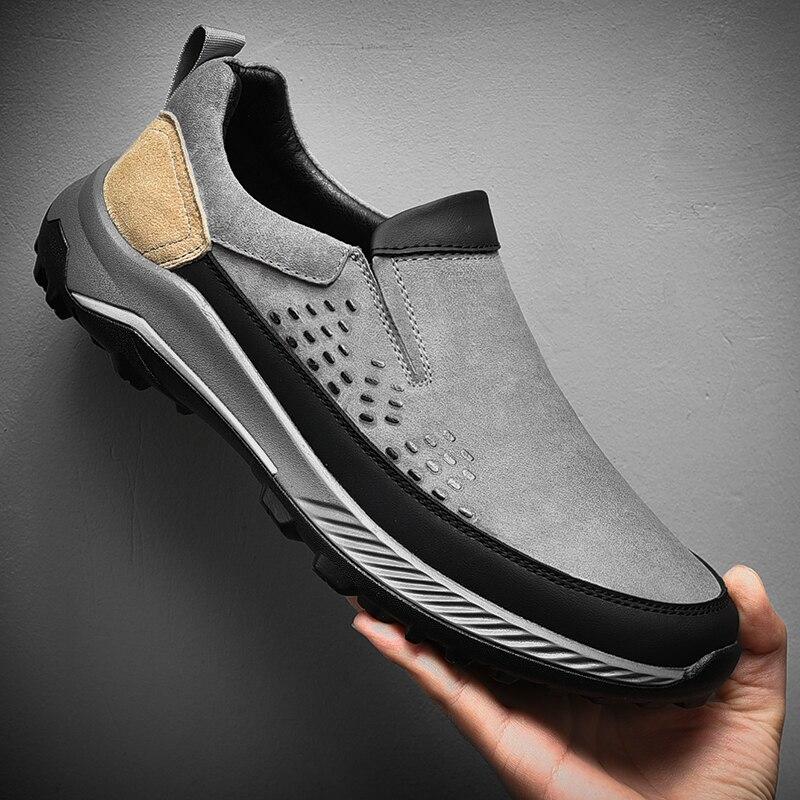 حذاء رجالي الانزلاق على الشقق جلد طبيعي المشي الأحذية الناعمة جودة الربيع حذاء للسير مسافات طويلة موضة أحذية رياضية