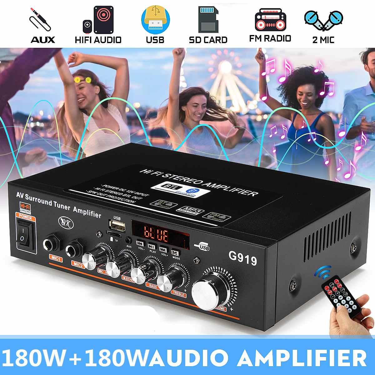 Amplificador Digital de Audio estéreo con bluetooth, sintonizador envolvente de 2 canales,...