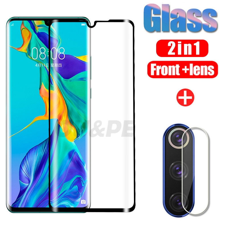 2 en 1 vidrio Protector para Huawei P30 P20 Mate 20 30 lite Pro Protector de pantalla lente de cámara Huawei P30 Pro P vidrio templado inteligente