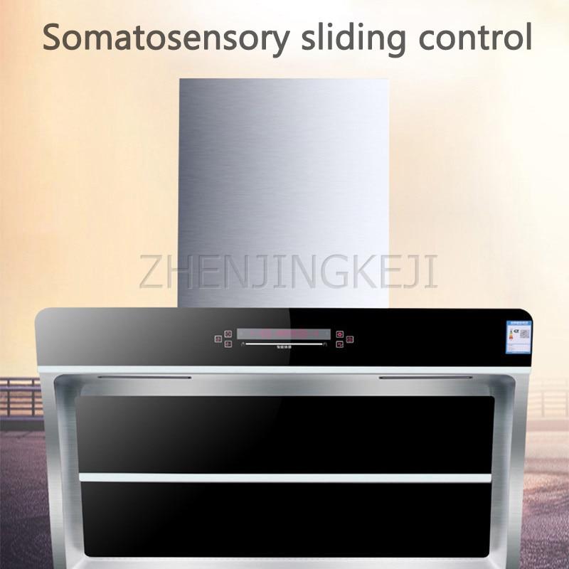 220V/230W Range Hood Side Suction Wall-mounted Dual Stove Remove Oily Smoke Home Tempered Glass Kitchen Smoke Lampblack Machine
