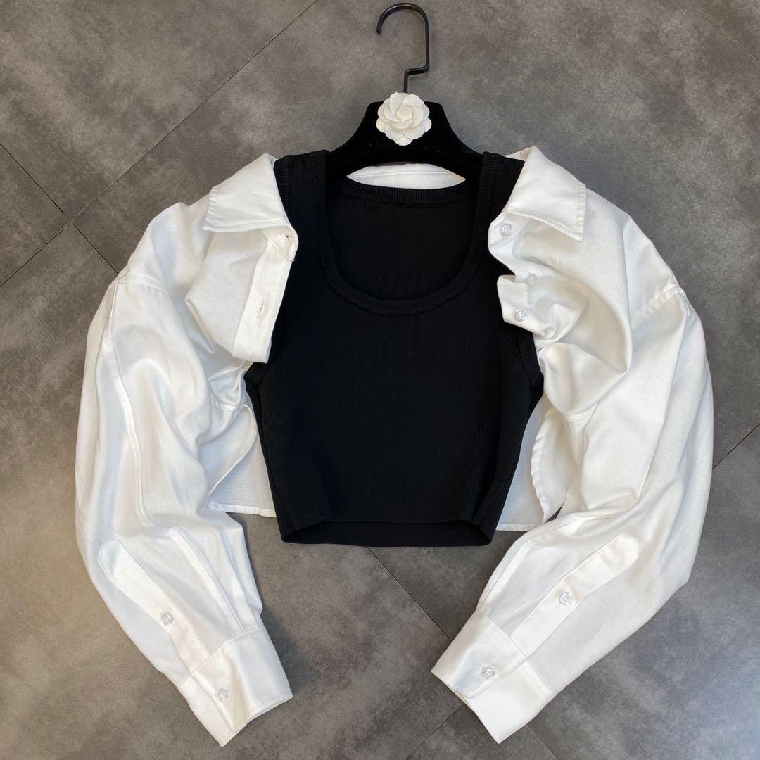 ZCSMLL 2021 الخريف الياقة المستديرة القمم فقاعة بأكمام طويلة خياطة محبوك وهمية قطعتين متعددة ارتداء تصميم المرأة قميص