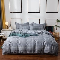 yaapeet 34pcs grey plaid bedding set breathable leaves pattern bedding linens europe warm bed sheets popular soft duvet cover