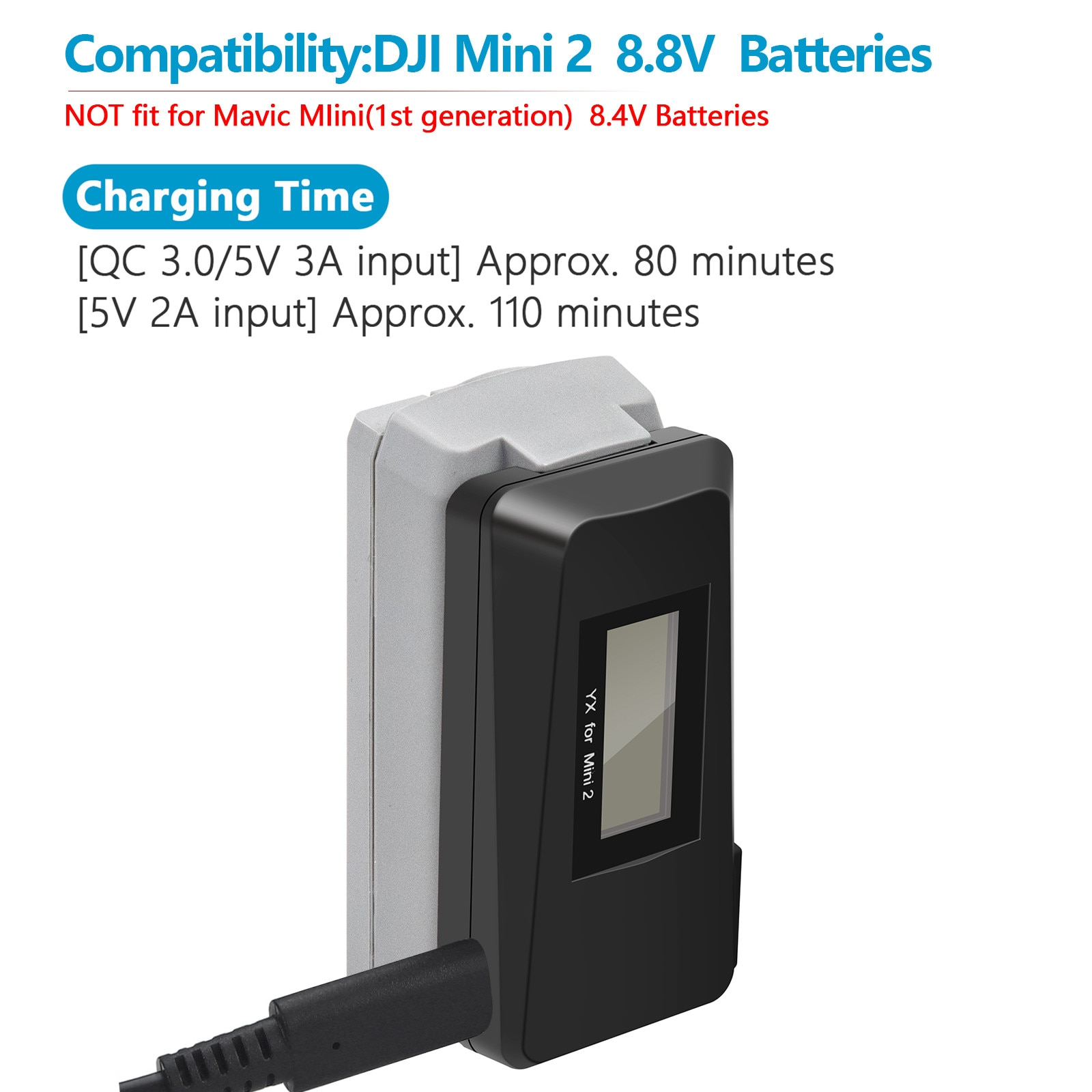 Fast Charger Battery Display Usb Charging For Dji Mavic Mini 2 Drone Accessories Screen Digital Display Power Charger charger uninterruptible power energy гарант 2000 economical idle running colored led display